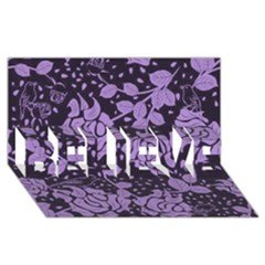 Floral Wallpaper Purple BELIEVE 3D Greeting Card (8x4)