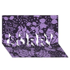 Floral Wallpaper Purple SORRY 3D Greeting Card (8x4)