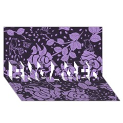 Floral Wallpaper Purple Engaged 3d Greeting Card (8x4)