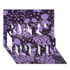 Floral Wallpaper Purple Get Well 3D Greeting Card (7x5)