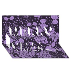 Floral Wallpaper Purple Merry Xmas 3d Greeting Card (8x4)