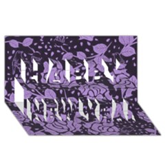 Floral Wallpaper Purple Happy New Year 3D Greeting Card (8x4)