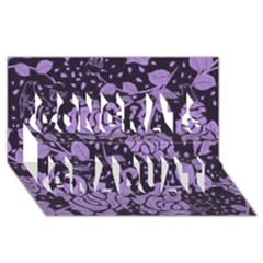 Floral Wallpaper Purple Congrats Graduate 3d Greeting Card (8x4)