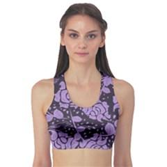 Floral Wallpaper Purple Sports Bra
