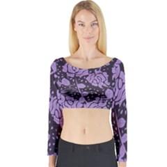Floral Wallpaper Purple Long Sleeve Crop Top