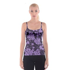 Floral Wallpaper Purple Spaghetti Strap Tops