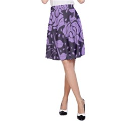 Floral Wallpaper Purple A-Line Skirts