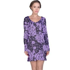 Floral Wallpaper Purple Long Sleeve Nightdresses