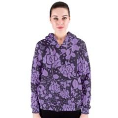Floral Wallpaper Purple Women s Zipper Hoodies