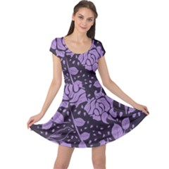 Floral Wallpaper Purple Cap Sleeve Dresses