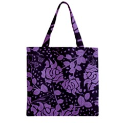 Floral Wallpaper Purple Zipper Grocery Tote Bags