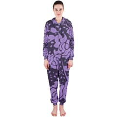 Floral Wallpaper Purple Hooded Jumpsuit (Ladies)