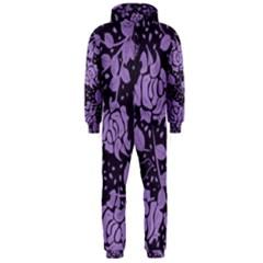 Floral Wallpaper Purple Hooded Jumpsuit (Men)