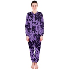Floral Wallpaper Purple OnePiece Jumpsuit (Ladies)
