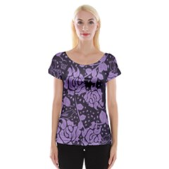 Floral Wallpaper Purple Women s Cap Sleeve Top