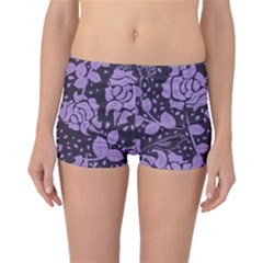 Floral Wallpaper Purple Boyleg Bikini Bottoms