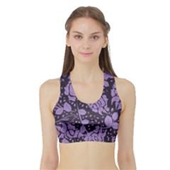 Floral Wallpaper Purple Women s Sports Bra With Border