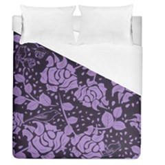 Floral Wallpaper Purple Duvet Cover Single Side (full/queen Size)