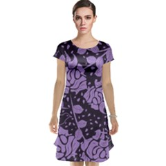 Floral Wallpaper Purple Cap Sleeve Nightdresses