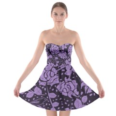 Floral Wallpaper Purple Strapless Bra Top Dress