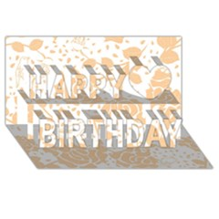 Floral Wallpaper Peach Happy Birthday 3d Greeting Card (8x4)