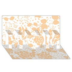 Floral Wallpaper Peach Mom 3d Greeting Card (8x4)