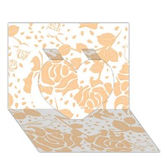 Floral Wallpaper Peach Heart 3d Greeting Card (7x5)