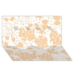 Floral Wallpaper Peach Twin Hearts 3D Greeting Card (8x4)