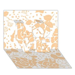 Floral Wallpaper Peach Love 3d Greeting Card (7x5)