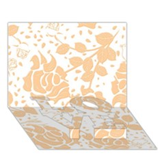 Floral Wallpaper Peach LOVE Bottom 3D Greeting Card (7x5)