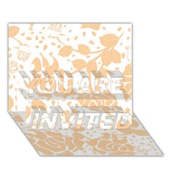 Floral Wallpaper Peach You Are Invited 3d Greeting Card (7x5)