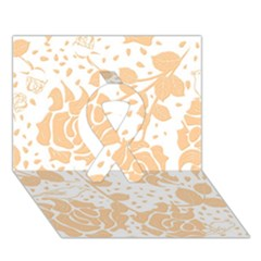 Floral Wallpaper Peach Ribbon 3D Greeting Card (7x5)