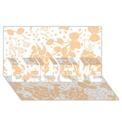 Floral Wallpaper Peach BELIEVE 3D Greeting Card (8x4)