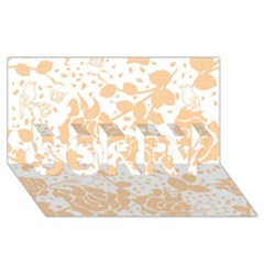 Floral Wallpaper Peach SORRY 3D Greeting Card (8x4)