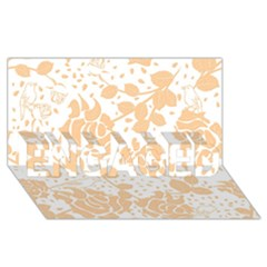 Floral Wallpaper Peach ENGAGED 3D Greeting Card (8x4)
