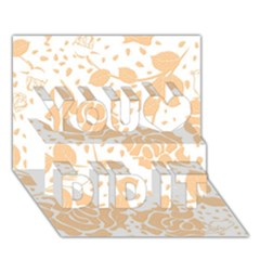 Floral Wallpaper Peach You Did It 3D Greeting Card (7x5)