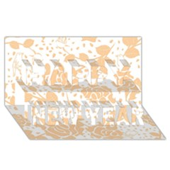 Floral Wallpaper Peach Happy New Year 3D Greeting Card (8x4)