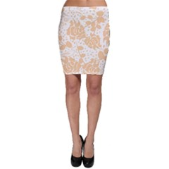 Floral Wallpaper Peach Bodycon Skirts