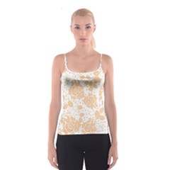 Floral Wallpaper Peach Spaghetti Strap Tops