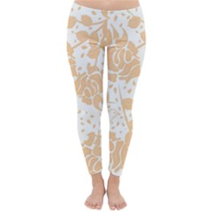 Floral Wallpaper Peach Winter Leggings