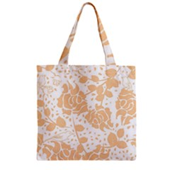 Floral Wallpaper Peach Zipper Grocery Tote Bags
