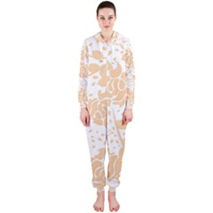 Floral Wallpaper Peach Hooded Jumpsuit (ladies)