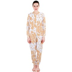 Floral Wallpaper Peach Onepiece Jumpsuit (ladies)