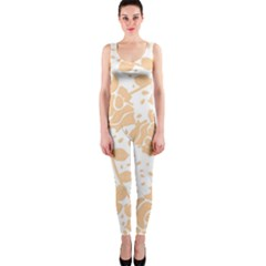 Floral Wallpaper Peach Onepiece Catsuits