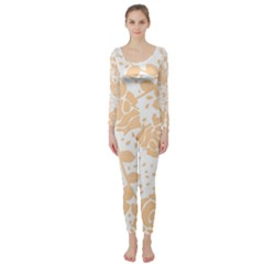 Floral Wallpaper Peach Long Sleeve Catsuit