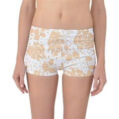 Floral Wallpaper Peach Boyleg Bikini Bottoms