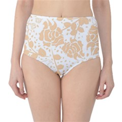 Floral Wallpaper Peach High-Waist Bikini Bottoms