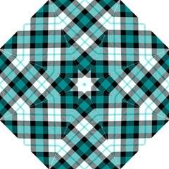 Smart Plaid Teal Folding Umbrellas