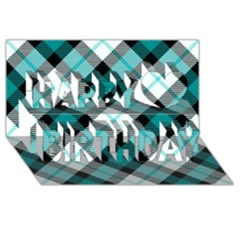 Smart Plaid Teal Happy Birthday 3D Greeting Card (8x4)