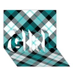 Smart Plaid Teal GIRL 3D Greeting Card (7x5)
